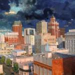 Aleksander Titovets, Downtown, oil, 48 x 60.