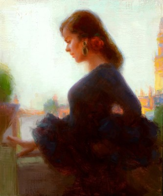 Susan Lyon, Looking Down to Seville, oil, 12 x 10.
