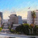 Scott Prior, Above Hollywood and Vine, oil, 12 x 24.