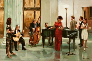 After-Hours Ensemble, oil, 20 x 30.
