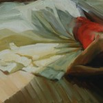 Afternoon Light on White Tafetta, oil, 24 x 48.