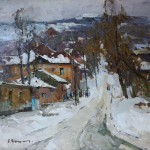 Alexandr Kryushin, Winter, oil, 24 x 26.