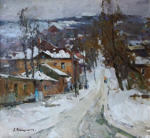 Alexandr Kryushin, Winter, oil, 24 x 26.