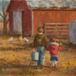 Amy Karnes, Morning Chores, oil, 12 x 16.