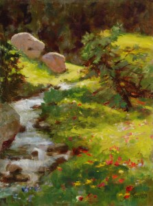 Kathy Anderson, River at Alta Lake, oil, 12 x 9.