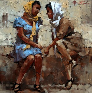 Andre Kohn, Gossips, oil, 16 x 16.