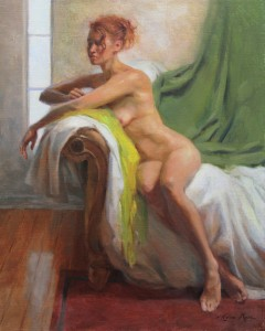 Anna Rose Bain, Figure with Chartreuse Scarf, oil, 20 x 16.