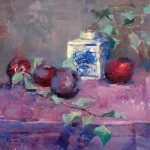 Kristan Le, Arrangement of Plums, oil, 12 x 12.