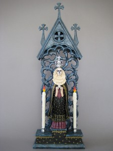 Arthur Lopez, Reina de la Muerte, wood/mixed media, 36 x 13 x 5.