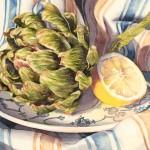 Artichoke and Lemon, watercolor, 8 x 10.