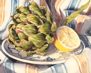 Artichoke and Lemon, watercolor, 8 x 10.