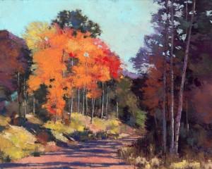 Dennis Rhoades, Aspen Road 2, pastel, 16 x 20.