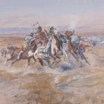 Charles M. Russell, The Attack/Attack on the Red River Carts (detail), 1903, C. M. Russell Museum, Gift of Martha Ann Birch Davies.