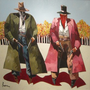 Thom Ross, Autumn: Frank and Jesse James, acrylic, 36 x 36.