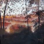 David Bottini, Autumn View Down River, acrylic, 24 x 24.