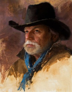 Back in the Saddle, oil, 18 x 14.