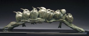 Pete Zaluzec | Bee-eaters, bronze, 24 x 7 x 8.