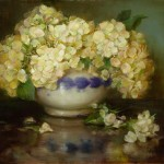 From the Small Gems show at Saks Galleries: Persian Bowl With Hydrangeas by Stephanie Birdsall