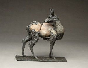 Pete Zaluzec | Blacktail, river stone/bronze, 11 x 10 x 4.