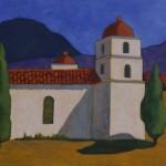 Robert Burt, Blanca Iglesia de Adobe en Mexico, acrylic, 24 x 30.