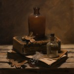 David Gluck, Bottles and Books, oil, 14 x 11.
