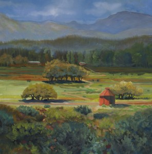 Heather Coen, Boulder Barn, oil, 20 x 20.