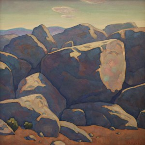 Howard Post, Boulders Out West, oil, 24 x 24.