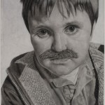 Destiny Bowman, The Mustache Club: Austin, charcoal, 30 x 22.