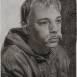 Destiny Bowman, The Mustache Club: Little Dave, charcoal, 30 x 22.
