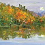 Joseph Breza, Autumn Reflections, oil, 12 x 24.