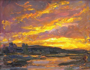 Joseph Breza, Sunrise at the Inlet, oil, 11 x 14.