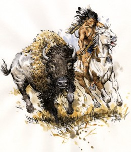 Andy Thomas, Buffalo Hunt, watercolor, 13 x 12.