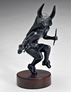 Michael Naranjo, Buffalo Shadow, bronze, 16 x 7 x 8.