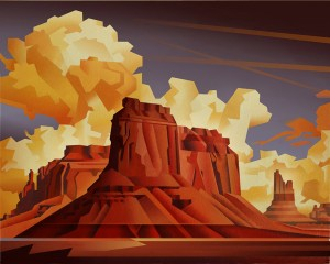 David Jonason, Buttes With Contrails, oil, 24 x 30.