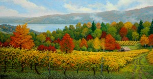 Charles White, Hillside Vineyards, oil, 18 x 36.