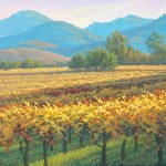 Charles White, Late Afternoon in Yountville, oil, 12 x 24.