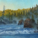 Carol Lee Thompson, Dawn's Cascade, oil, 18 x 32.