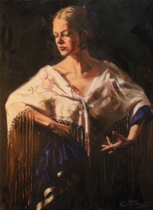 Mitch Caster, La Flamenca Con Flores, oil 24 x 18.
