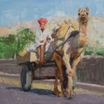 Raj Chaudhuri, A Camel Cart in Rajasthan, oil, 20 x 20.