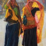 Raj Chaudhuri, Looking for a Bargain, oil, 30 x 20.