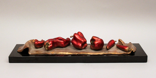 Darlis Lamb, French Lesson 18: Chili Festival, Festival de Piment, bronze, 4 x 27 x 7.