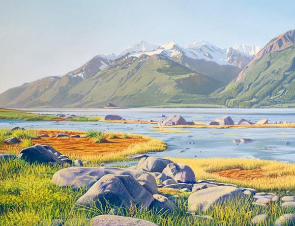 Donna Catotti, Chilkat River Autumn, pastel, 19 x 25.