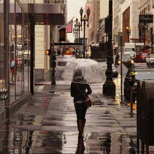 Greg Gandy, Clear Umbrella, oil, 12 x 12.