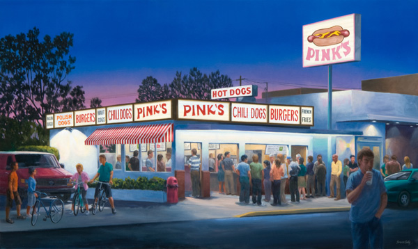Bruce Cody, Dog Nights of Summer, oil cityscape painting