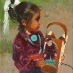 Bonnie Conrad, Little Navajo Daughters, oil, 12 x 9.