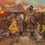 Gary Niblett, Cowboy Coffee, oil, 24 x 36.
