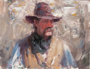 Dan Beck, Cowboy, oil, 14 x 18.