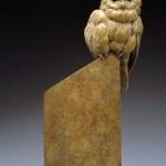 Pete Zaluzec | Curious Owl, bronze, 18 x 9 x 6.
