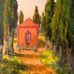 Evelyne Boren, Cypress Alley at I Luoghi Tuscany, oil, 40 x 46.