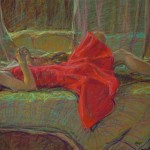 The Red Dress, color pencil, 24 x 28.
